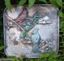 Cardinal Bluejay bird plaque plastic plaster concrete mould