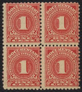 #R207 1c Documentary-Block of 4, Mint OG NH [3] **ANY 4=FREE SHIPPING**