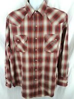 PLAINS Mens Western Wear Shirt Size Large Red Gray Plaid Pearl Snaps Metallic