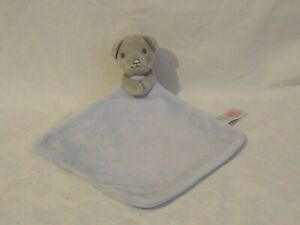 Tesco F&F grey teddy bear soft toy with blue blankie blanket baby comforter
