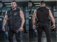 Mens Muscle Gym Sleeveless Hoodies Mens Training Top, Drop Arm Hoodie Black