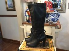 Fitzwell Heeled Black Knee High Boots Leather, Women's Shoes, Size 8.5M