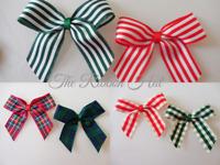Christmas Ribbon Bows, Tartan, Stripes, Rustic Gingham Red and Green 5cm x 5cm