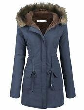 Womens MEANOR Hooded Warm Winter Faux Fur Lined Parka Jacket- Navy Blue- L-NWT