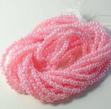 Pink Ceylon Pearl Czech 6/0 Seed Bead on Loose Strung 6 String Hank