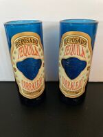 2 TEQUILA REPOSADO SHOT GLASS CORRALEJO MUG 3OZ EMBOSSED BLUE LIQUOR BAR BARWARE