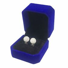 Earrings  925 Silver Holder 10mm Crystal Rhinestone White Clay Beads Jewelry Box