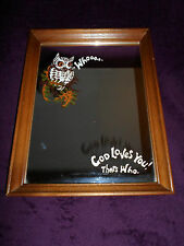 "Vintage Owl Wood Frame 13"" x 10"" Mirror Wall Decoration Plaque ""God Loves You"""