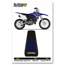 2008-2016 Yamaha TTR 110 All Black / Blue Ribs SEAT COVER Ribbed GRIPPER