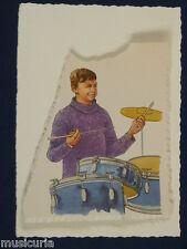 ak~ handmade greetings / birthday card 60S DRUMMER ILLUSTRATION