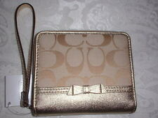 NWT Coach Signature Bow Medium Zip Around Wallet Wristlet Khaki Gold 48800