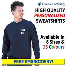 Personalised Embroidered SweatShirts, Customised Workwear Free Text Uneek UC203