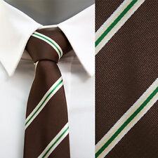 VoiVoila Men's Skinny Slim Narrow Diagonal Stripes Woven Neckties-Dark Brown