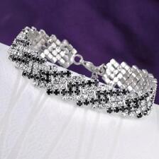 Women's Love Black Gold Plated Chain Tennis Bracelet Bangle Trendy Jewelry