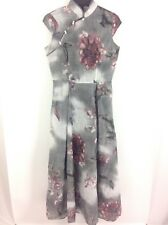 B8 Women Ladies Maxi Dress Sz S Gray Long English Turtle Neck Floral Pleated New