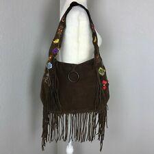 Francesco Biasia Brown Suede Fringe Boho Hippie Festival Coachella Shoulder Bag
