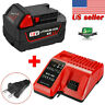For Milwaukee M18 LITHIUM Battery 18V 48-11-1850 48-59-1812 & M12-18C Charger US