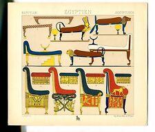 Antique Print Litho ANCIENT EGYPT CHAIRS THRONES 1888 Le Costume Historique