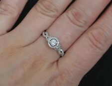 New S7 10K 1/3ct Natural Diamond Miracle Halo Twisted Engagement Ring White Gold