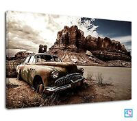 Abandoned Vintage Car In The Desert Mountain Canvas Print Wall Art Picture