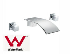 Square Bath tub Water Spout w Wall Top Assemblies 1/4 Turn Taps Chrome watermark