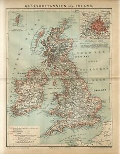 1882 GREAT BRITAIN and IRELAND SHETLAND ISLANDS LONDON CITY PLAN Antique Map