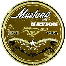 """Ford Mustang Nation 12"""" Round Metal Sign Garage Embossed Retro Home Wall Decor"""