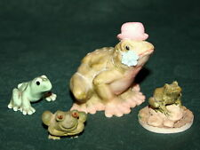 Set of 4 Vtg Green FROGS Ceramic & Polymer Figurines Scotland Greece Collection