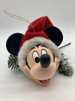 Disney Mickey Mouse Head With Red & White Santa Hat Christmas Holiday Ornament