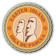 Easter Island Vintage Label Car Bumper Sticker Decal 5'' x 5''