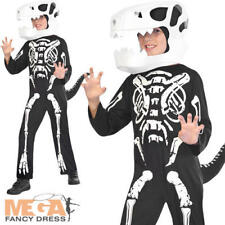 Skeleton Dinosaur Boys Halloween Fancy Dress T-Rex Animal Childrens Kids Costume