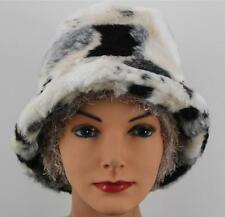 ed036c8d39f CHEMO HAT Black White Faux Fur Cancer Head Cover CREAM HIGHLIGHTS Bucket