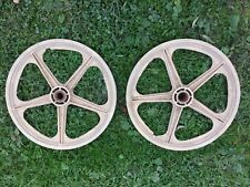 Vintage Rare Skyway BMX Mag Wheels * 1970's Stamped Rubbermaid * White 5 Spoke