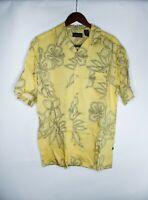 Ocean Pacific Shirt Mens M Button Down Yellow Hawaiian Floral Short Sleeve