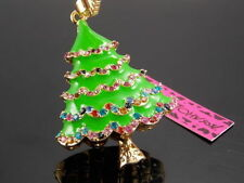 Betsey Johnson Christmas tree Crystal Pendant Necklace Sweater chain AA03