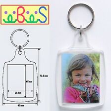 2x Blank Clear Acrylic Keyrings 45x35mm Photo Size (key ring plastic) 95457