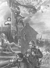 First English Civil War SIEGE OF LATHAM HOUSE ~ Antique 1870 Art Print Engraving
