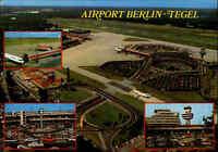 BERLIN Airport Flughafen Tegel Mehrbild-AK Flugzeuge, Terminal, Luftaufnahme