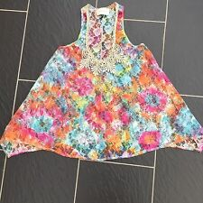 RIVER ISLAND LADIES PINK BLUE ORANGE GREEN LACE TOP WITH GOLD CROCHET SIZE 8