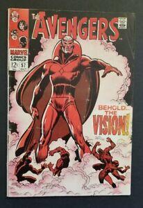 AVENGERS #57 • 1ST VISION • WANDAVISION • VERY GOOD+ OR BETTER