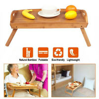 Bed Table,Food Serving Lap Tray Wood Foldable Folding Legs Breakfast Portable