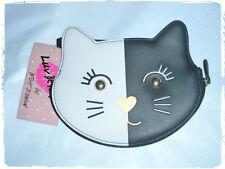 Luv Betsey Johnson Half Black Half White Kitty Cat Wristlet Coin Purse
