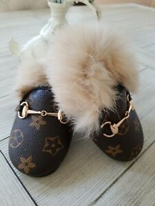 Leather & Rabbit Fur Horse Bit Slippers Crib Shoe Indoor Toddler Baby 6 EU 22