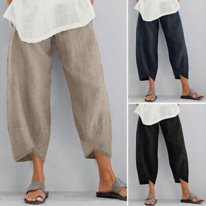 ZANZEA Women Casual Cropped Pants Capris Straight Leg Cotton Plus Size Trousers