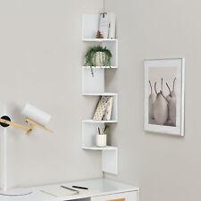 [en.casa]® Estante de pared para esquina estantería zig-zag diseño blanco
