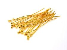 100 x 14mm Gold Plated Ball Head Pins Jewellery Craft Findings R172