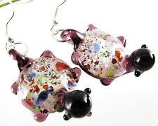 New Turtle Dichroic Foil Lampwork Murano Glass Pendant Dangle Earring