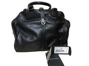 Authentic Giorgio Armani Black leather handbag with Small Makeup Bag + Duster