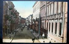Bulgaria Sofia 1914 view of busy Rue Legue stores, handcarts