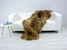 BEAUTIFUL REAL ICELANDIC DOUBLE SHEEPSKIN RUG RUSTY DYED COLOUR RD-01
